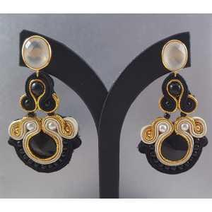 Goud vergulde oorbellen met wit Chalcedoon en handgemaakte hanger