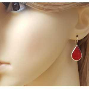 Zilveren oorbellen met druppelvorm rood Koraal