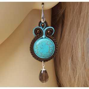 Zilveren oorbellen met Smokey Topaas en handgemaakte hanger