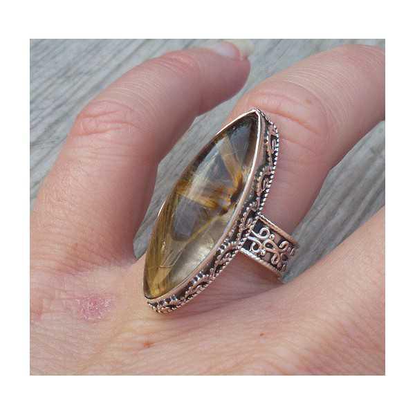 Zilveren ring marquise gouden Rutielkwarts bewerkte setting 17 mm