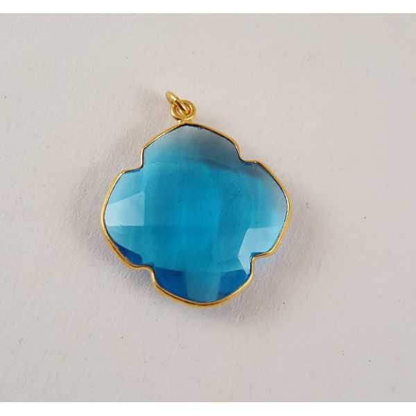 Goud vergulde hanger met klaver van blauw Topaas quartz