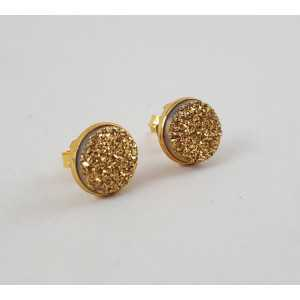 Goud vergulde oorknoppen gezet met ronde gouden druzy Titanium
