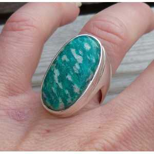 Zilveren ring gezet met ovale Amazoniet 17.3 mm