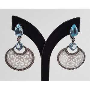 Zwart goud vergulde oorbellen met blauw Topaas en Parelmoer