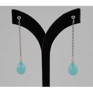 Zilveren lange oorbellen met aqua Chalcedoon druppel