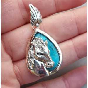 Zilveren hanger gezet met Turkoois en zilveren paardenhoofd