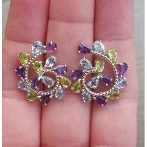 Zilveren oorbellen met Peridot, Topaas en Amethist