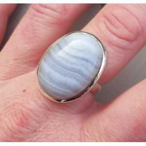 Zilveren ring gezet met ovale cabochon blauw Lace Agaat 17.7 mm