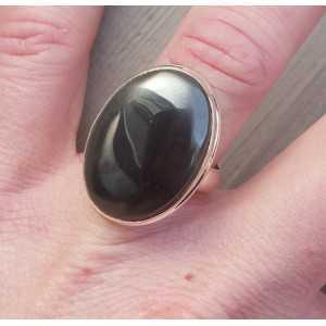 Zilveren ring gezet met brede ovale Hematiet 17.3 mm