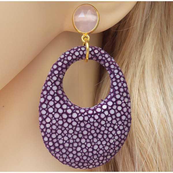 Vergulde oorbellen met roze Chalcedoon en paars Roggenleer