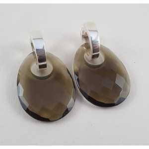Zilveren creolen ovale hanger van Smokey Topaas