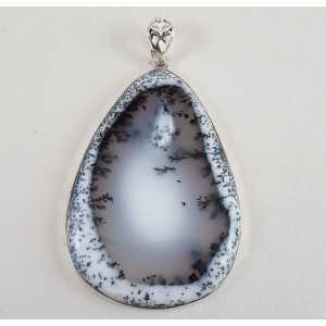 Zilveren hanger grote druppelvormige cabochon Dendriet Opaal