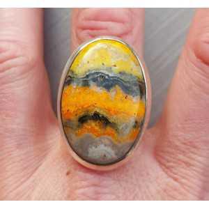 Zilveren ring gezet met ovale cabochon Eclipse steen 18.5 mm