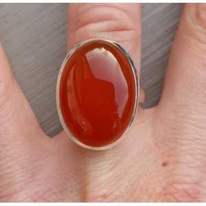 Zilveren ring met ovale Carneool ring maat 17 mm