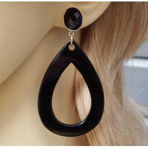 Zilveren oorbellen Onyx en open druppel van zwart Buffelhoorn