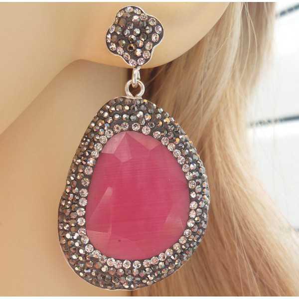 Zilveren oorbellen met roze Kattenoog en Swarovski kristallen