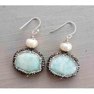 Zilveren oorbellen met Parel en Amazoniet met kristallen rand