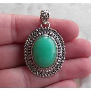 Silver pendant set with Chrysoprase in any setting