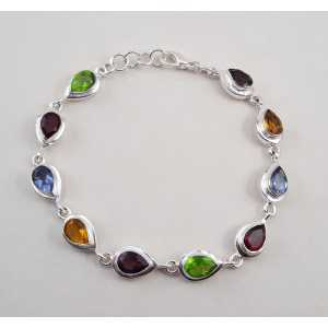 Zilveren armband gezet met druppelvormige multi edelstenen