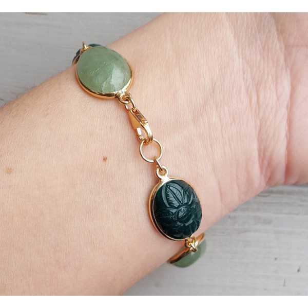 Rosé vergulde armband gezet met groene Onyx en Aventurijn