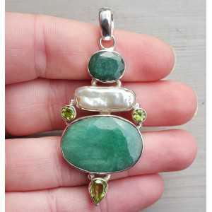 Zilveren hanger gezet met Emerald, Peridot en Parel
