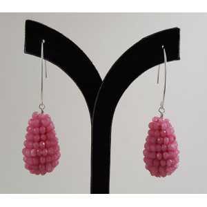 Oorbellen met druppel van roze Jade