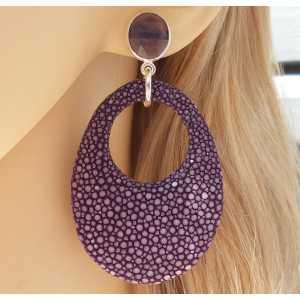 Zilveren oorbellen met Amethist en paars Roggenleer