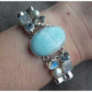 Zilveren armband met Larimar, Maansteen en blauw Topaas