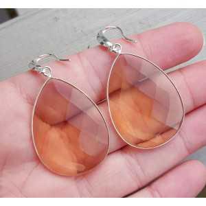 Zilveren oorbellen gezet met grote Honey Topaas