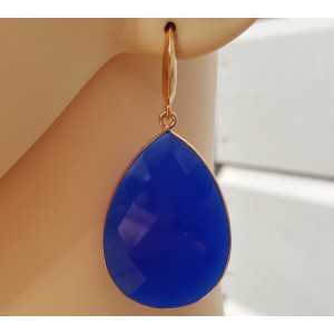 Rosé vergulde oorbellen met grote blauwe Chalcedoon