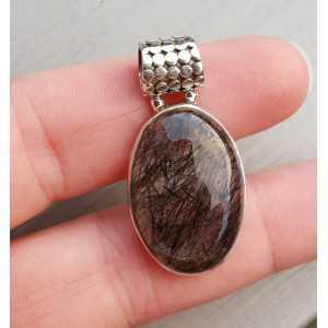 Zilveren edelsteenhanger ovale cabochon Toermalijnkwarts