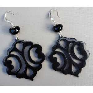 Ohrringe mit schwarzen Onyx rondelle und geschnitzten schwarzen Büffel horn