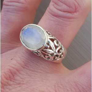 Silber ring mit traverse oval facet Mondstein 19 mm