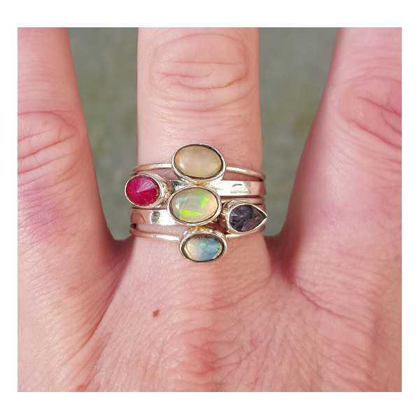 Silber Ringe mit Rubin, Opal und Ioliet 19 mm