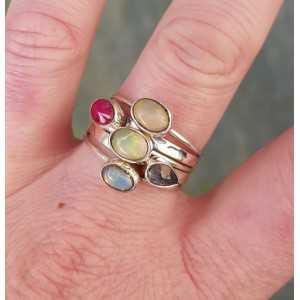 Zilveren ringen set met Robijn, Opaal en Ioliet 19 mm