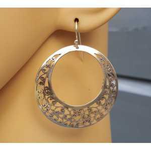 Zilveren grote ronde open bewerkte oorbellen
