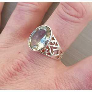 Zilveren ring met ovale groene Amethist 19 mm