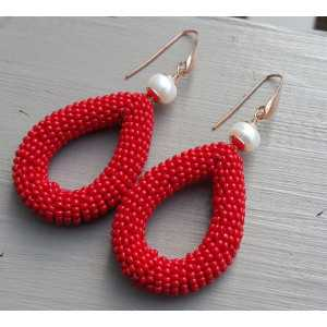 Earrings with freshwater Pearl and open drop of red beads