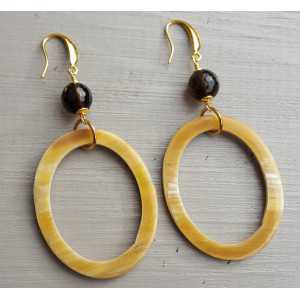 Earrings with Smokey Topaz and oval ring from buffalo horn