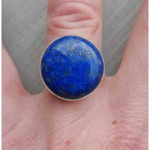 Zilveren ring gezet met ronde cabochon Lapis Lazuli 17.3 mm