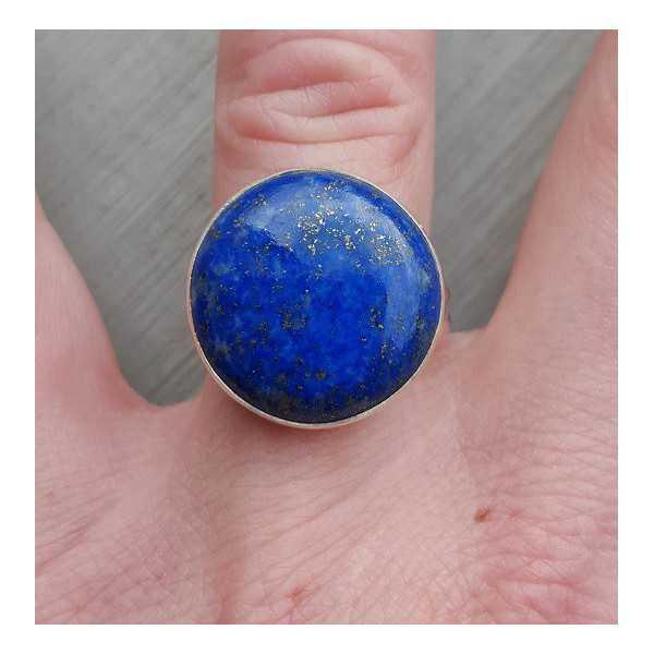 Silber ring set mit Runden cabochon Lapis Lazuli 17.3 mm