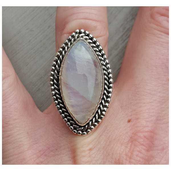 Silber ring set mit marquise-cabochon Mondstein 16,5 mm