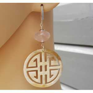 Earrings with buffalo horn and rose quartz