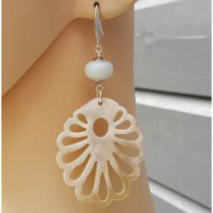 Earrings with buffalo horn and Amazonite