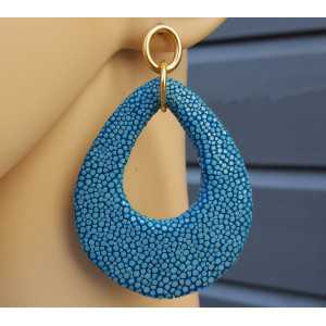 Earrings with drop of Ocean blue Roggenleer