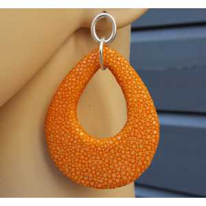 Oorbellen met druppel van oranje Roggenleer