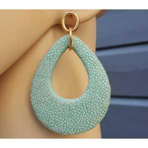Ohrringe mit einem Tropfen-Türkis-blau Roggenleer