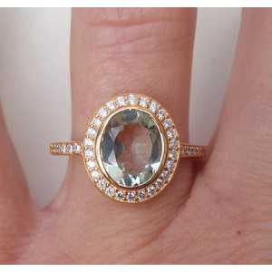 Vergulde ring met groene Amethist en Zirkonia 17.3 mm