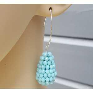 Ohrringe mit einem Tropfen light blue Jade