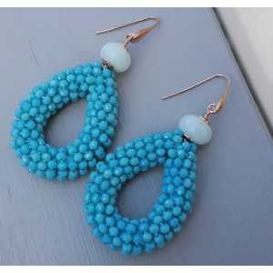 Earrings with open drop of Turquoise blue crystals and Amazonite